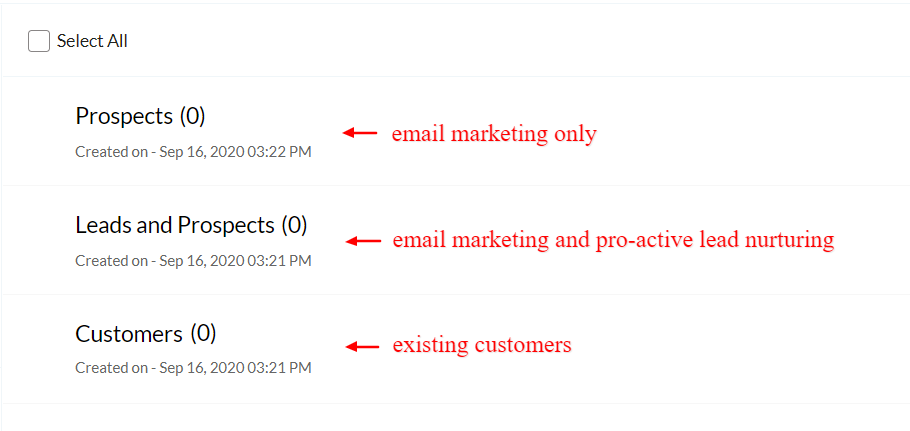 Zoho Campaign Lists Example