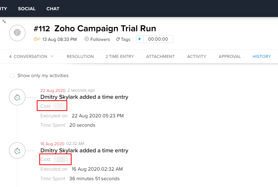 Zoho Desk Time Tracking Entries